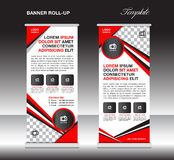 Red roll up banner template, stand template, stand design, banner design, pull up, advertisement, polygon background vector illus royalty free illustration