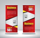 Red Roll up banner template vector, banner, stand, exhibition design, advertisement, pull up, x-banner and flag-banner layout vector illustration