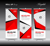 Red Roll Up Banner template vector illustration polygon backgrou Stock Photos