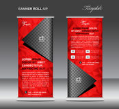 Red Roll up banner template vector, stand, flyer design, banner Royalty Free Stock Images