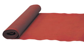 Red rolled carpet. Red rolled carpet isolated on white Royalty Free Stock Photos