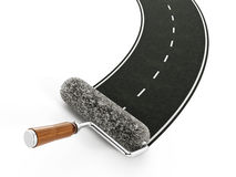 Red roller brush forming a motorway Royalty Free Stock Image