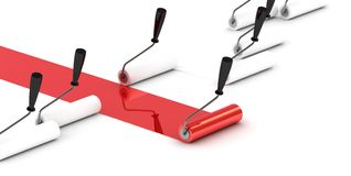Red Roller Brush lider. Royalty Free Stock Photography