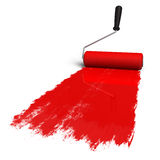 Red roller brush with trail of paint Royalty Free Stock Images