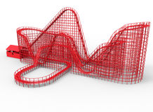 Red roller coaster. 3D rendered illustration of a red roller coaster. The composition is isolated on a white background with shadows stock illustration