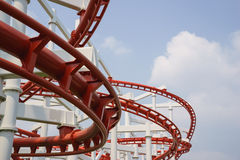 Red roller coster rail Stock Photography