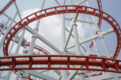 Red roller coster rail Royalty Free Stock Images