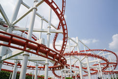 Red roller coster rail Royalty Free Stock Photography