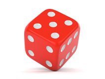 Red rolling dice. Red rolling lucky dice isolated on white background. Gambling, casino and board game concept vector illustration