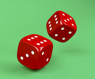 Red rolling dices. On green background vector illustration