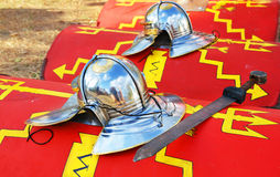 Red roman shield ,crest and swor Stock Photography