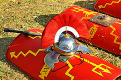 Red roman shield ,crest and swor Royalty Free Stock Photography