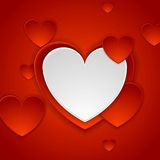 Red romance background with hearts Royalty Free Stock Images