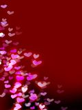 Red romantic background with hearts Royalty Free Stock Photo