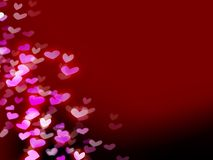 Red romantic background with hearts Royalty Free Stock Images