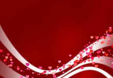 Red romantic card with wavy background Stock Photography