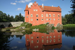 Red romantic castle. In Cervena Lhota, Czech republic Stock Photo