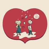Red romantic couple illustration Royalty Free Stock Photos