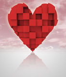 Red romantic dimensional cubic heart with cloudy sky Stock Image