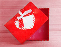 Red romantic gift box Stock Photo