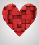 Red romantic heart cubic composition Royalty Free Stock Photography