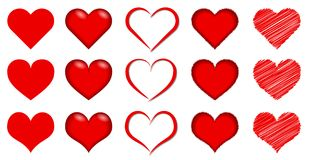 Red Romantic Heart - Vector Art Collection. A collection of different kind of red romantic heart styles - Vector art royalty free illustration