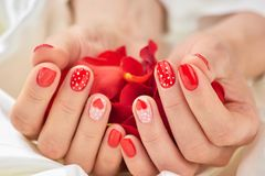 Red romantic manicure and petals. Royalty Free Stock Images