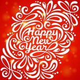 Red romantic New year background with flare lights Stock Image