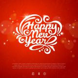 Red romantic New year background with flare lights. And texture. New year icons. Christmas design with place for your text. White New year lettering on red Royalty Free Stock Images