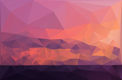 Red romantic sunset on the sea vector background Royalty Free Stock Photo