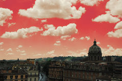 Red Rome. Rome's skyline changed into red colors Stock Photo