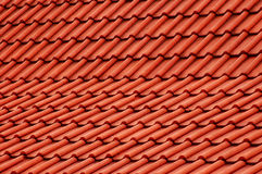 Red roof. Detailed shot of a red roof top stock image