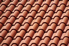 Red roof. Closeup photo of roof with red tiles royalty free stock photos