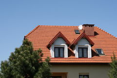 Red roof. In the sunshine Royalty Free Stock Image