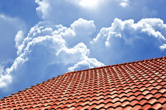 Red roof background and cloudy Stock Photo