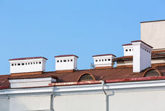 Red roof with chimneys Royalty Free Stock Photography
