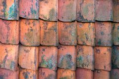 Red roof clay slates pattern texture background stock photos