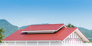 Red roof Contemporary thai home stly. And blue sky stock photo
