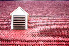 Red Roof with Dormer. Red roof with expanse of wooden tiles and one dormer, Mount Vernon, Virginia Royalty Free Stock Photography