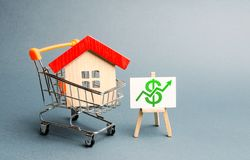 A red roof house in a trading cart and green arrow up on a stand. Increasing the cost and liquidity of real estate. Attractive. Investing. rising prices or stock images