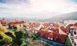 The red roof in Prague. Panoramic view of  from  Cas Royalty Free Stock Photography