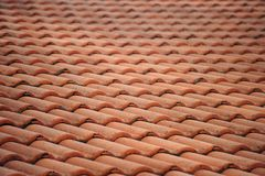 Red Roof Tile. Old Red Roof Tile Pattern Stock Photo