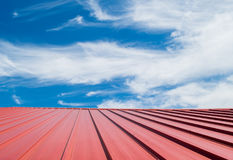 Red roof tile with cloudy sky. Royalty Free Stock Photo