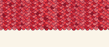 Red roof tile horizontal seamless pattern Stock Photo