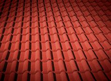 Red roof tiles. In spot light Royalty Free Stock Photo