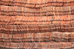 Red roof tiles. Stack of red roof tiles in Thailand temple Royalty Free Stock Images