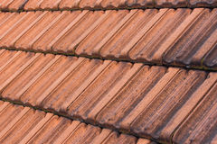 Red roof tiles , vintage roof background Stock Photo