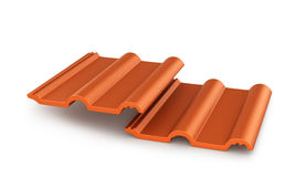 Red roof tiles  on white background. 3d  illustration Royalty Free Stock Photos