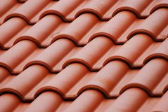 Red Roof Top. A photo taken on the layers of bricks of a red painted roof top Royalty Free Stock Image