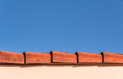 Red Roof Top Edge & Blue Sky Royalty Free Stock Photo